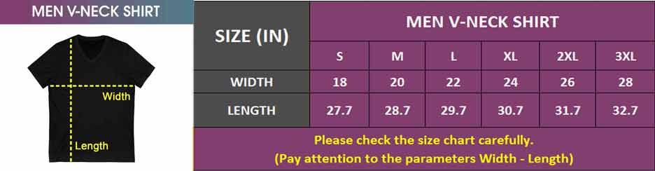 Men V-Neck Shirt | Size Chart