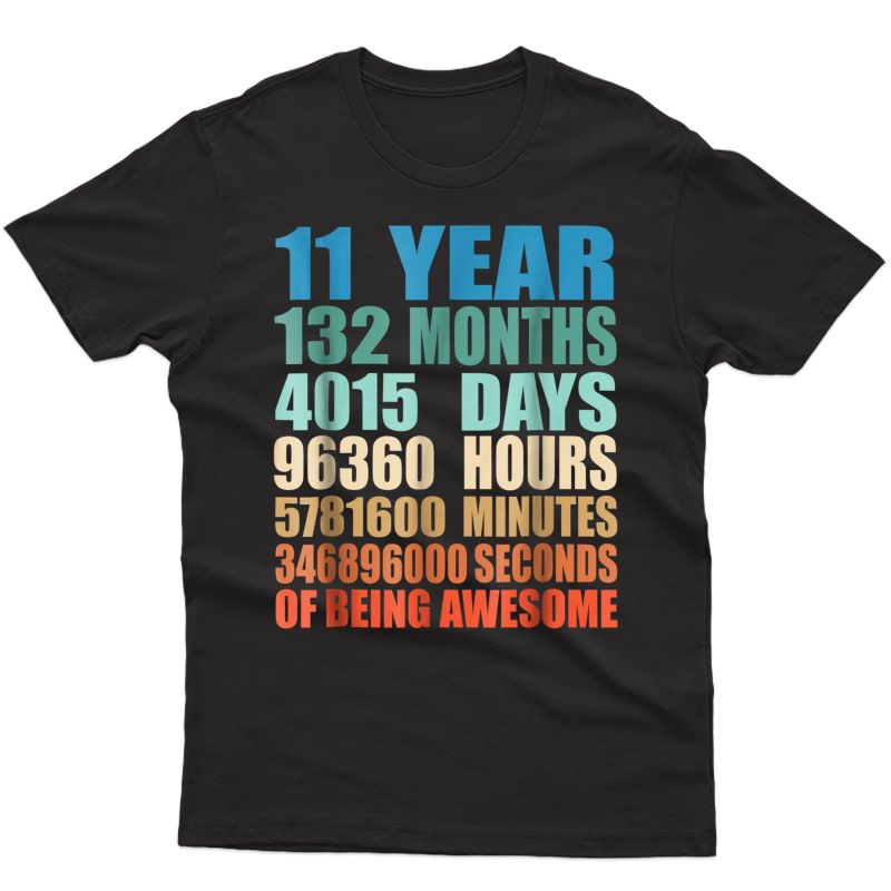11 Years Old 11th Birthday Vintage Retro T-shirt 132 Months