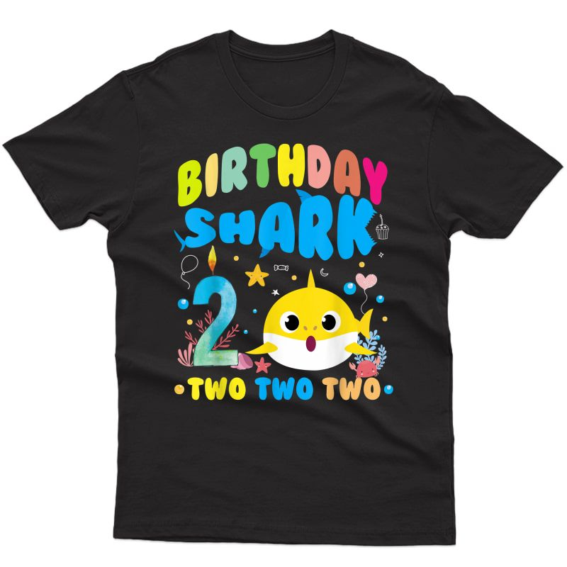 2nd Birthday Boy Shark Birthday Party Gifts For T-shirt