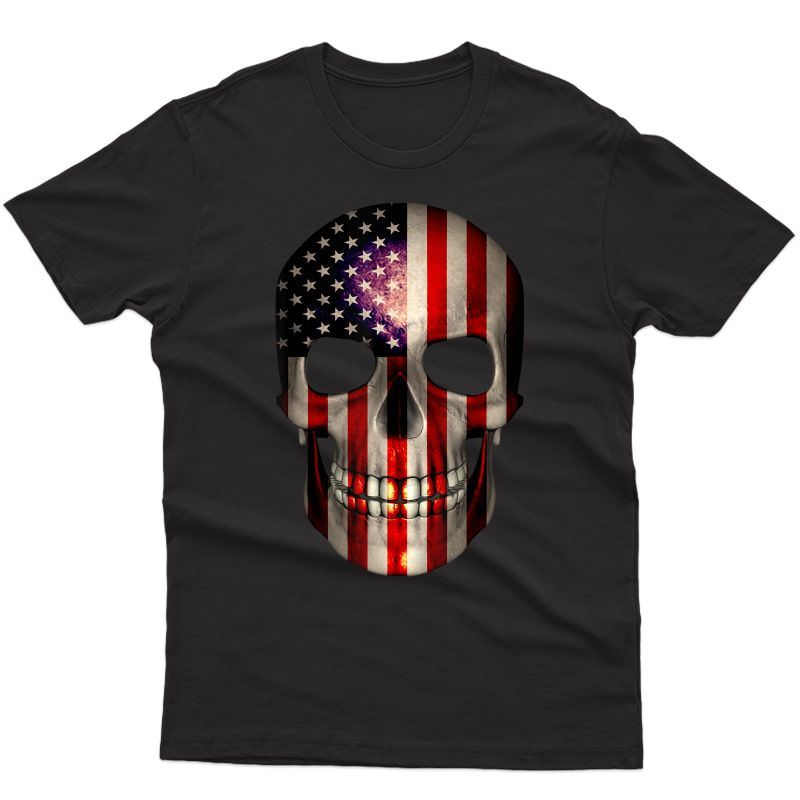 4th Of July T Shirt American Flag Skull Father's Day Gift