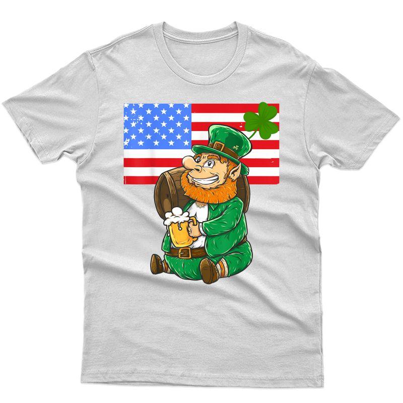 American Flag Shirt   Funny St Patrick Leprechaun Beer Tee