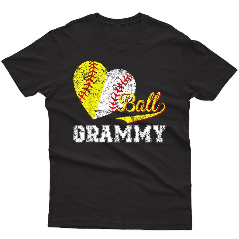 Baseball Softball Ball Heart Grammy Mother's Day T-shirt