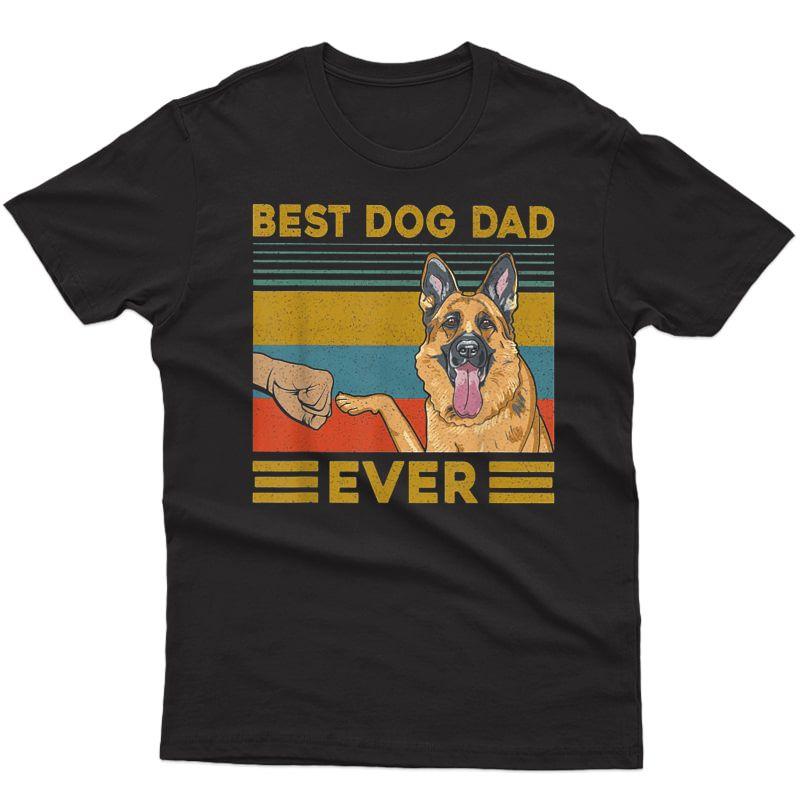 Best Dog Dad Ever German Shepherd Retro Vintage T-shirt