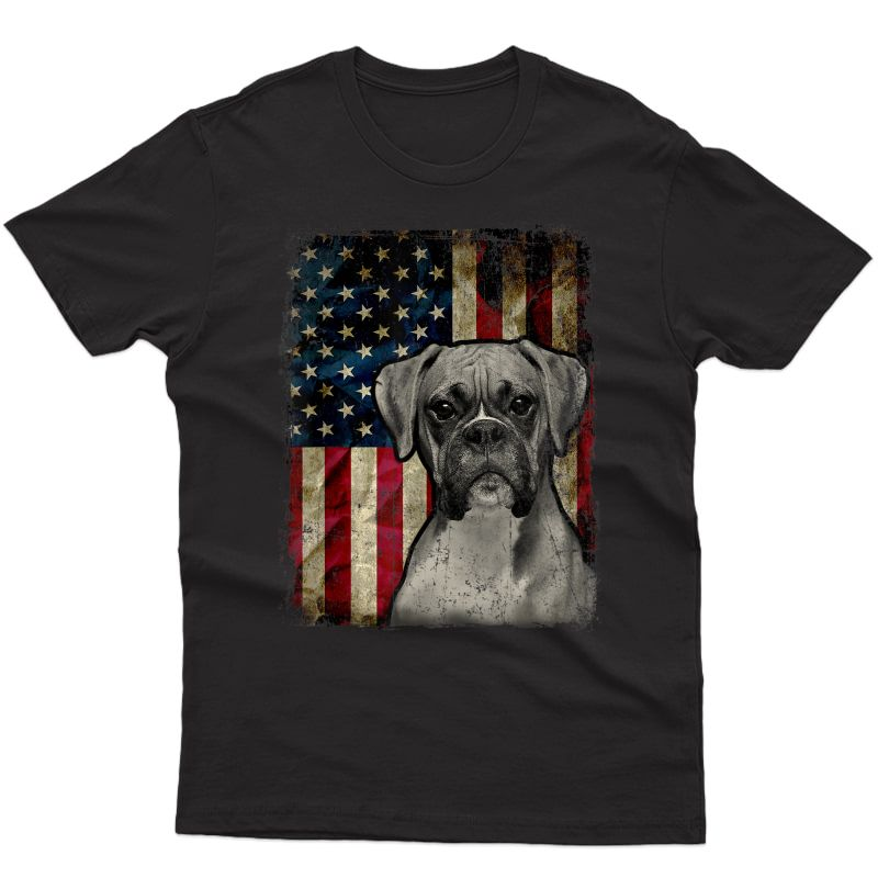 Boxer Dog 4th Of July American Flag Patriotic T-shirt