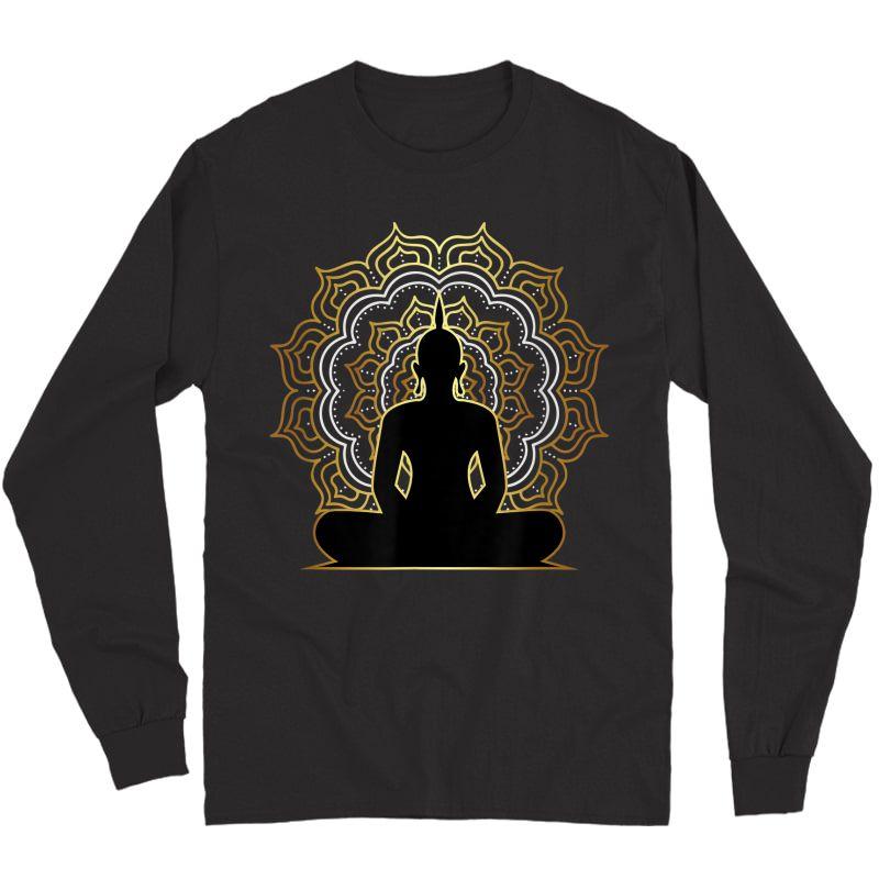 Buddha Meditation T Shirt, Spiritual Buddhist Yoga Tee Long Sleeve T-shirt