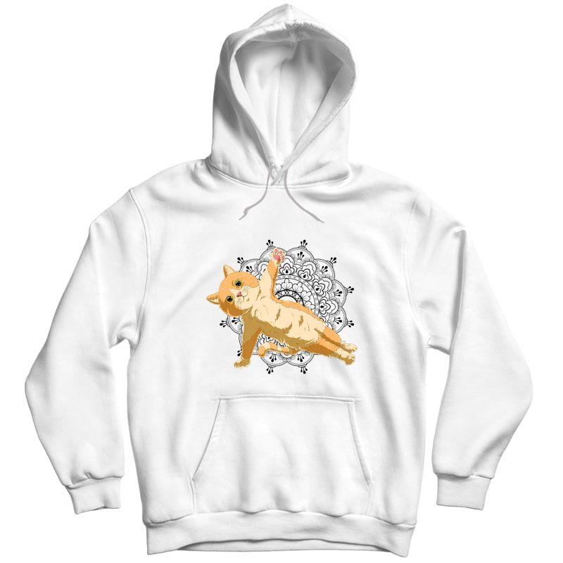 Cute Cat Yoga With Lotus Flower Mandala Premium T-shirt Unisex Pullover Hoodie