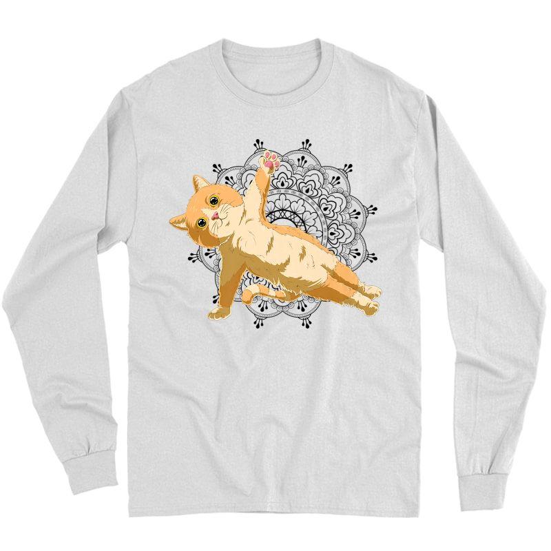 Cute Cat Yoga With Lotus Flower Mandala Premium T-shirt Long Sleeve T-shirt