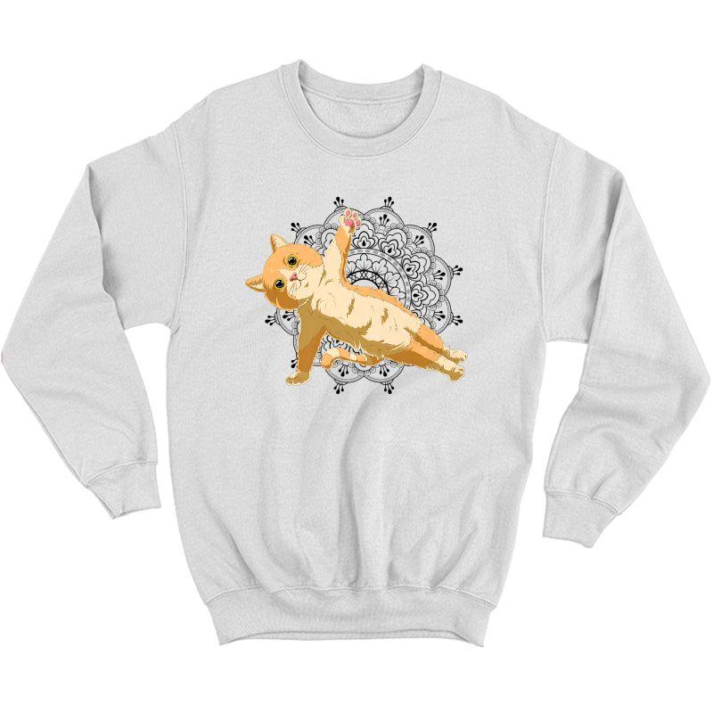 Cute Cat Yoga With Lotus Flower Mandala Premium T-shirt Crewneck Sweater