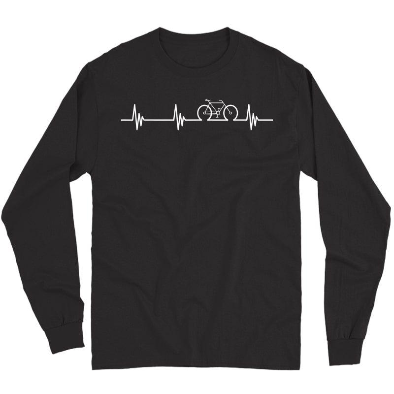 Cycling Heartbeat T-shirt- Bicycle Love Biking Shirt Gifts T-shirt Long Sleeve T-shirt