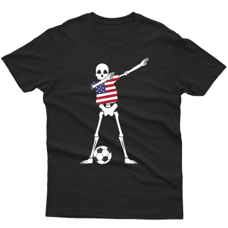 Dabbing Skeleton Usa Soccer | American Dab Dance Football Shirts