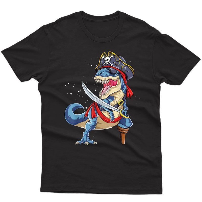 Dinosaur T Rex Pirate T Shirt Jolly Roger Halloween Gifts T-shirt