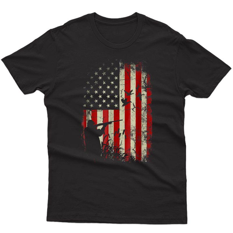 Duck Hunter American Flag Usa Hunting T Shirt Gift For