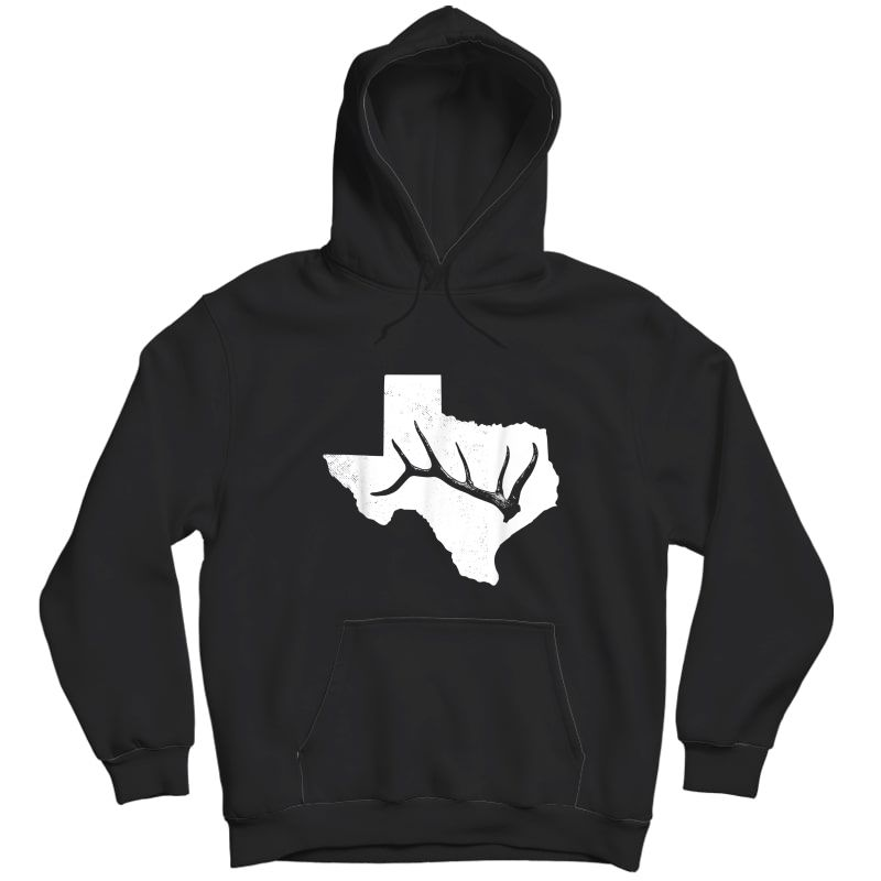 Elk, Deer Or Buck Shed Antler Hunting Usa Texas Map Gift T-shirt Unisex Pullover Hoodie