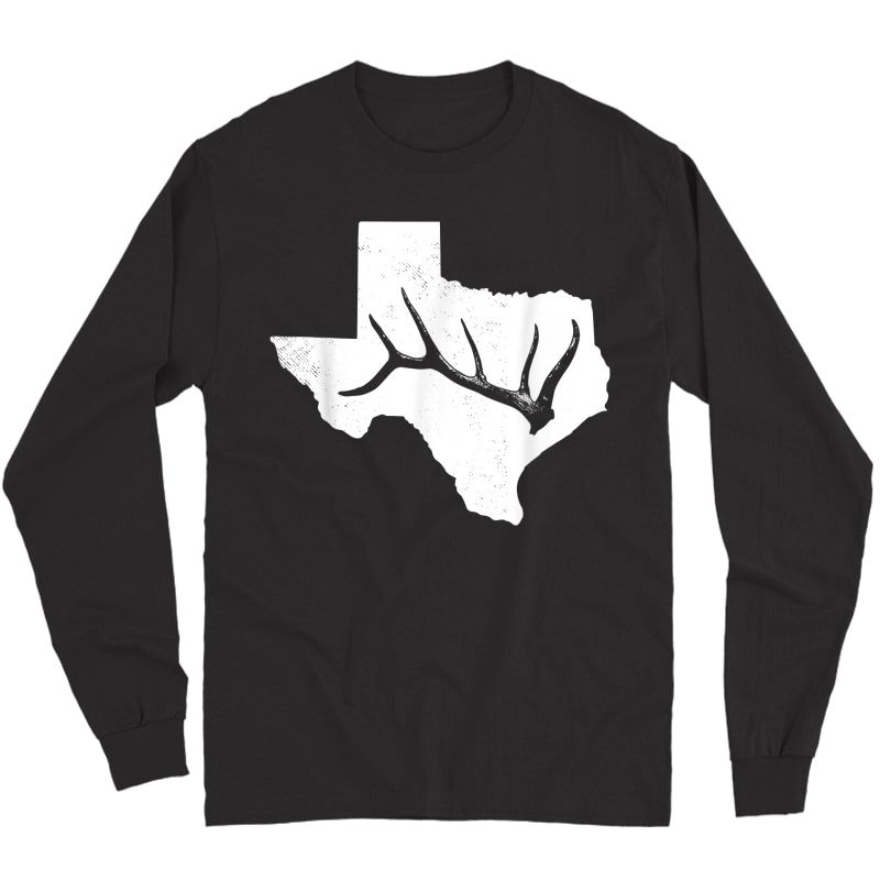 Elk, Deer Or Buck Shed Antler Hunting Usa Texas Map Gift T-shirt Long Sleeve T-shirt