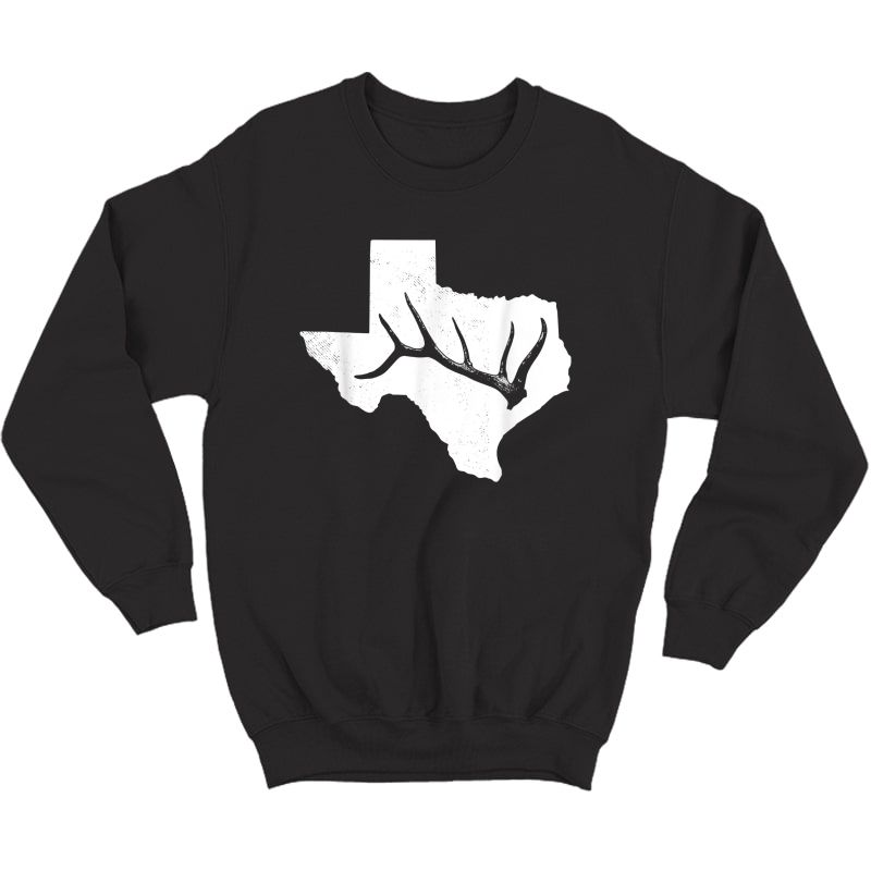 Elk, Deer Or Buck Shed Antler Hunting Usa Texas Map Gift T-shirt Crewneck Sweater