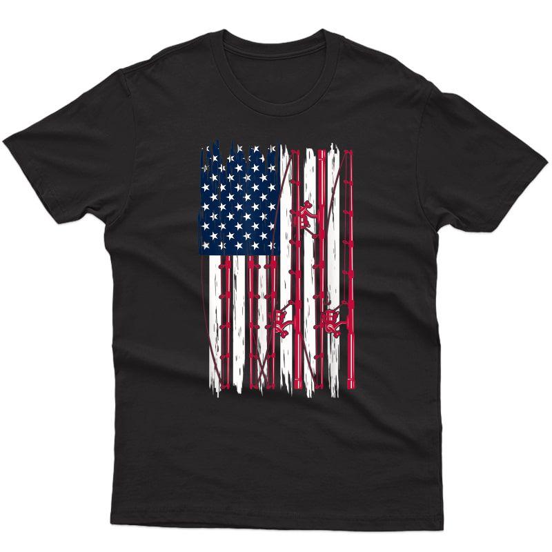 Fisherman Fathers Day Gift Usa Flag American Fishing T-shirt