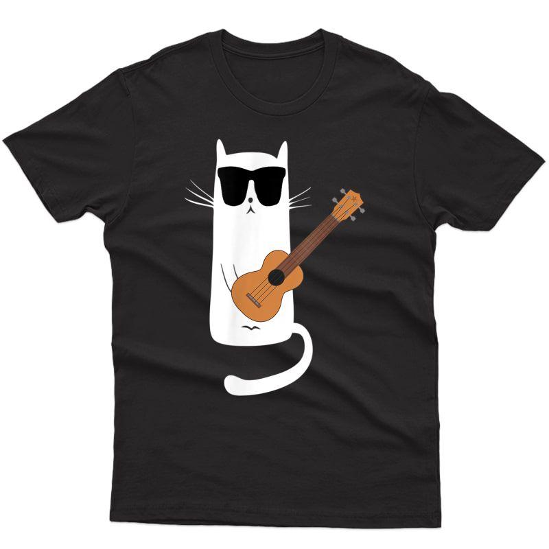 Funny Cat Wearing Sunglasses Playing Ukulele T-shirt