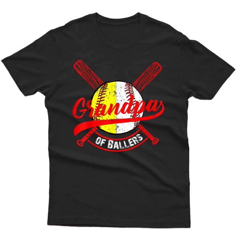 Grandpa Of Ballers Shirt Baseball Softball Gift From T-