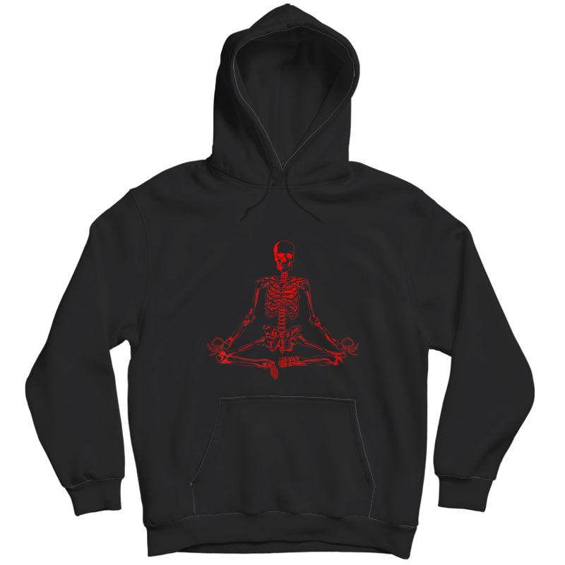 Halloween Meditating Skeleton Shirt | Funny Freaky Yoga Gift Unisex Pullover Hoodie