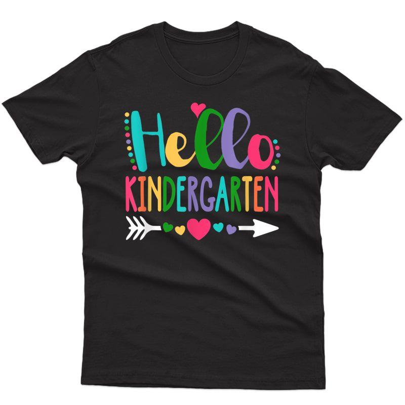 Hello Kindergarten Heart Tea Student Back To School T-shirt