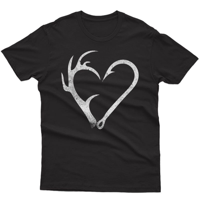 Hunting Fishing Distressed Heart Hook Antler Shirt For