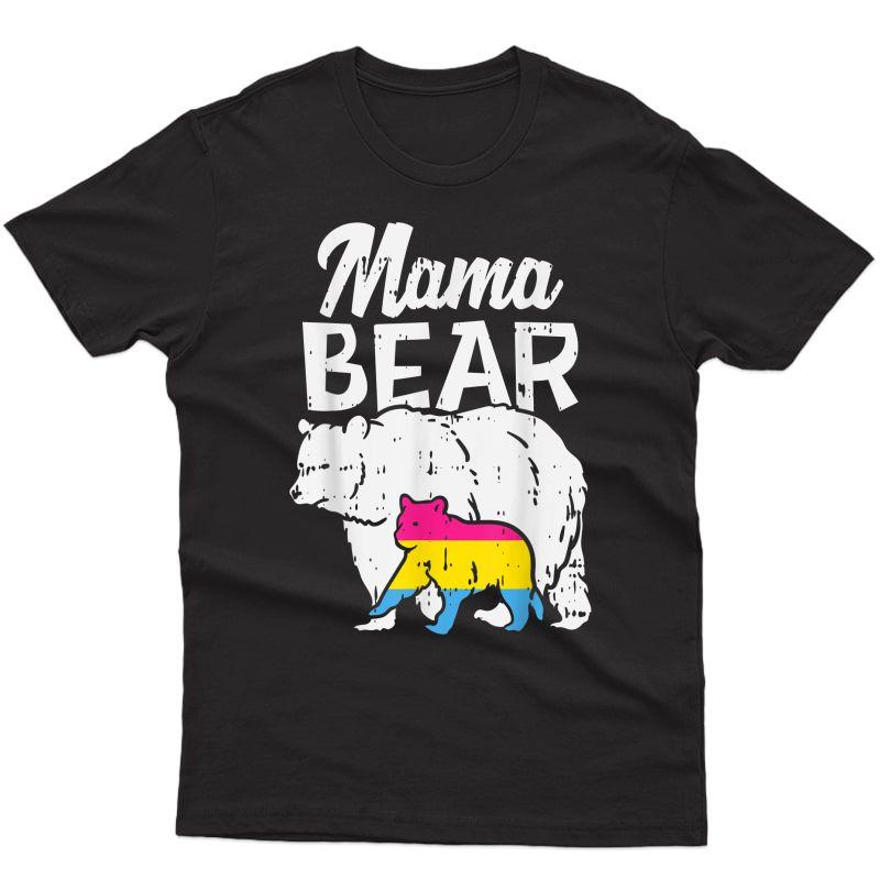 Mama Bear Pansexual Pride Pan Flag Lgbt Ally Mom Gift T-shirt