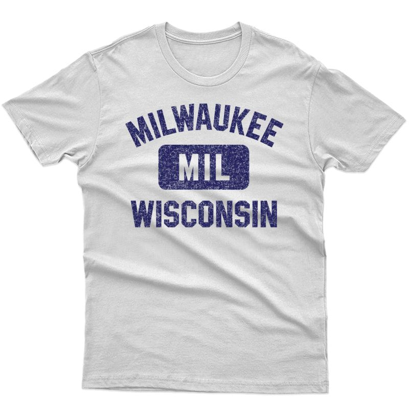 Milwaukee Mil Gym Style Distressed Navy Blue Print Pullover Shirts