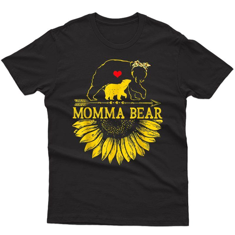 Momma Bear Mothers Day Sunflower Family T-shirt
