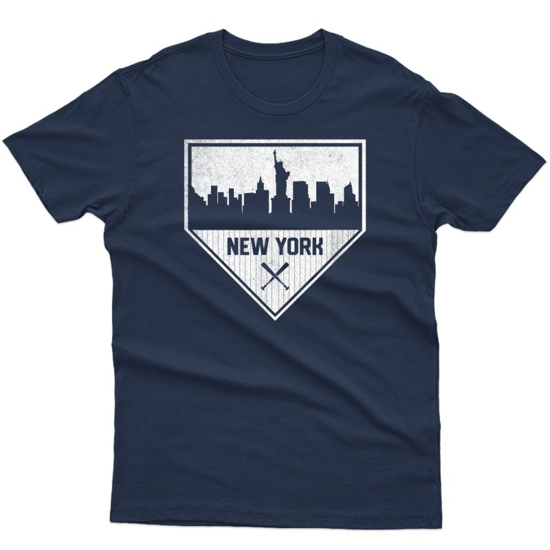 New York Baseball Home Plate Vintage Ny Skyline T-shirt
