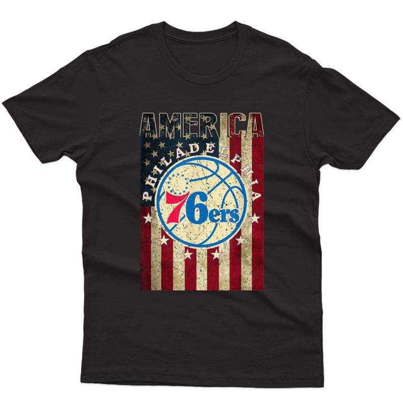 Philadenphia Basketball Fan 76.ers 4th Of July American Flag T-shirt