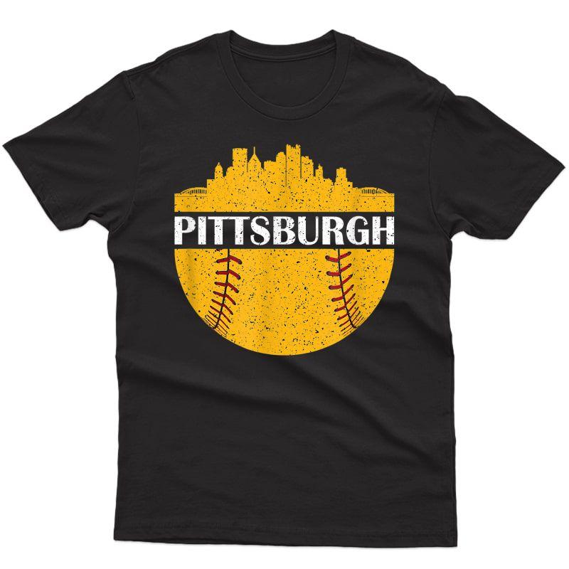Pittsburgh Baseball Cityscape Distressed Novelty Pirate T-shirt