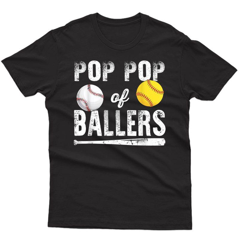 Pop Pop Of Ballers Shirt Baseball Softball T-shirt