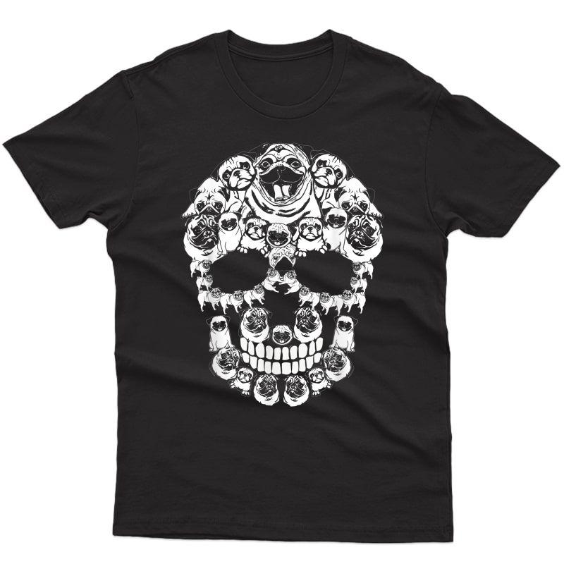 Pug Dog Shirt Halloween Skull Costumes Gift T-shirt