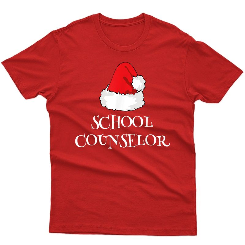 School Counselor Christmas Santa Hat Funny T-shirt T-shirt