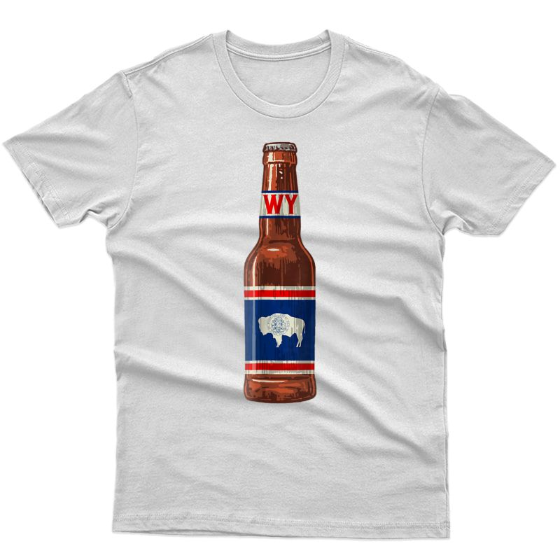 State Flag Of Wing Flag Beer Bottle Drinking Tee - Wy Shirts
