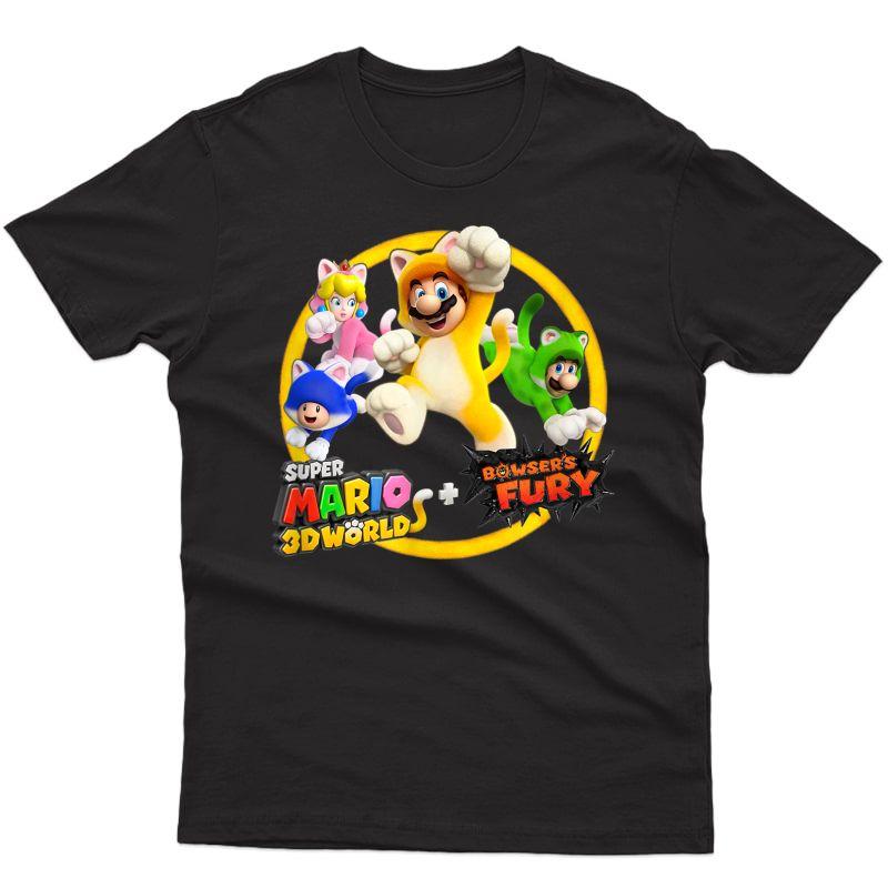 Super Mario 3d World Bowser's Fury Group Shot Cat Suit Jump T-shirt