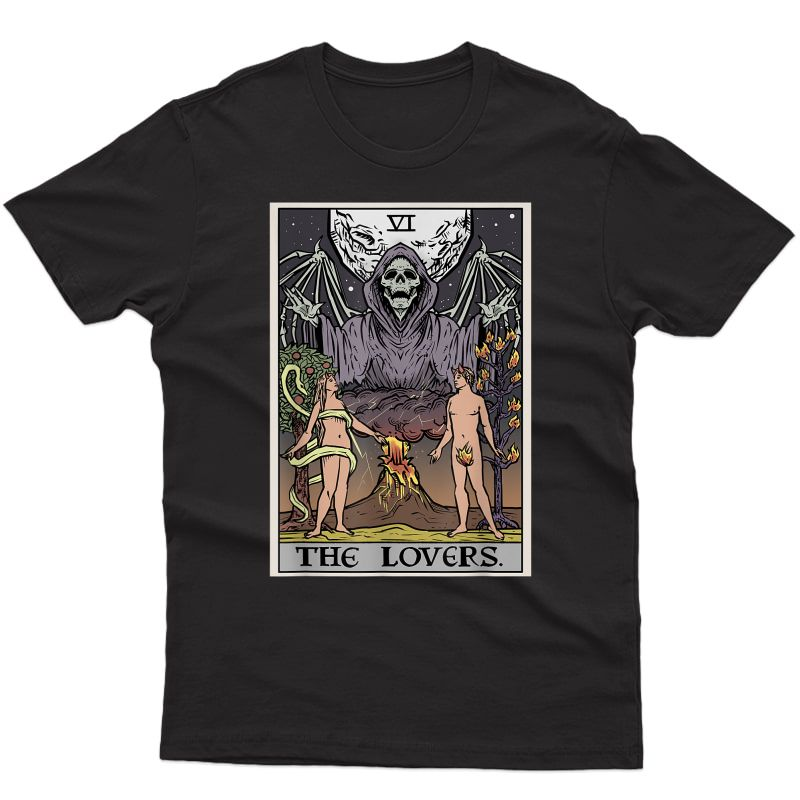 The Lovers Tarot Card Grim Reaper Halloween Gothic Couples T-shirt