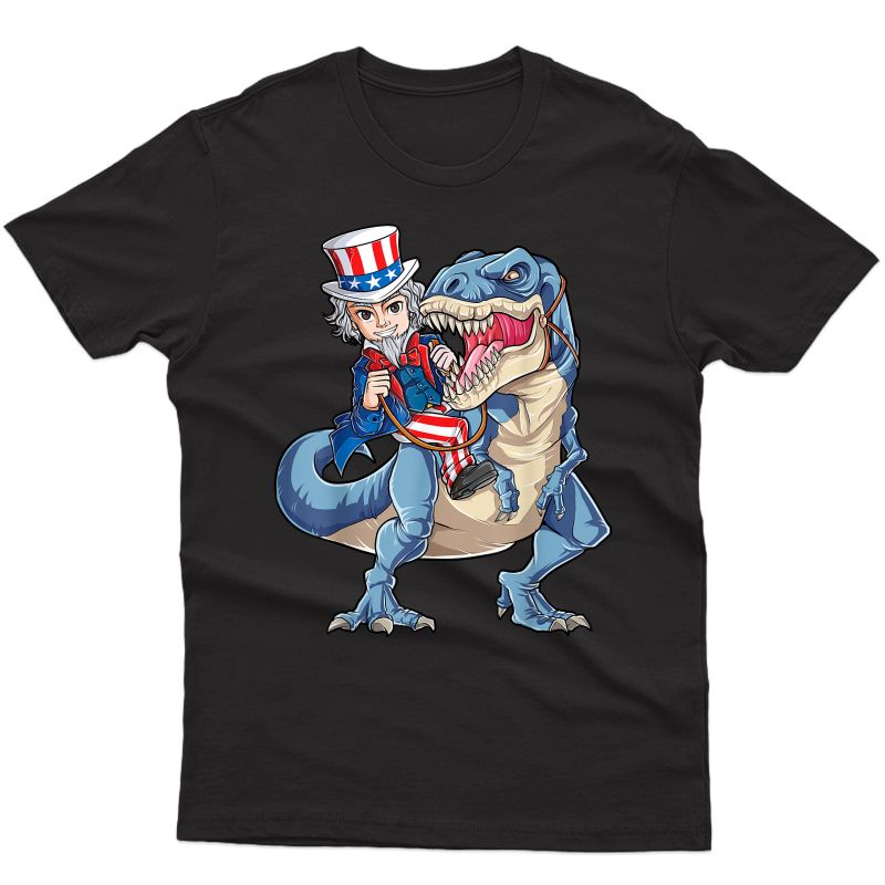 Uncle Sam Dinosaur T Shirt 4th Of July T Rex Gifts