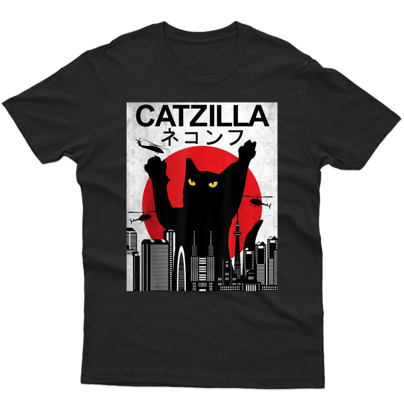 Vintage Catzilla Japanese Sunset Style - Cat Lovers T-shirt