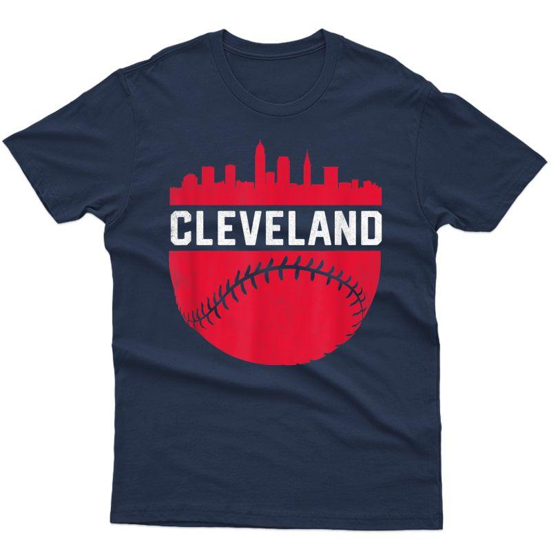 Vintage Downtown Cleveland Ohio Skyline Baseball T-shirt
