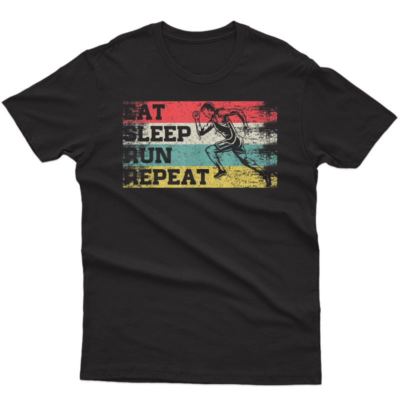 Vintage Retro Eat Sleep Run Repeat Funny Running Runner Gift T-shirt
