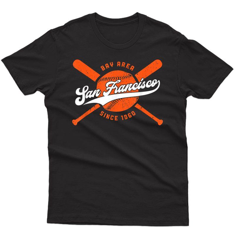 Vintage San Francisco Baseball Bats Distressed Giant Gift T-shirt