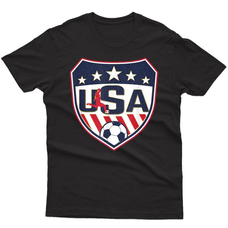 Vintage Soccer Apparel Usa Shield Soccer Player Silhouette T-shirt