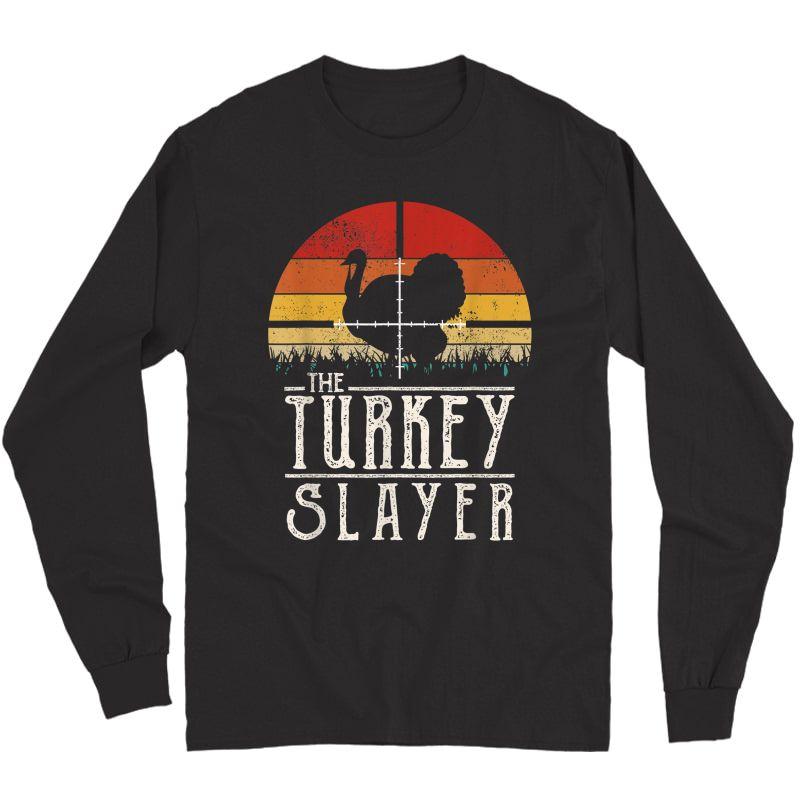 Vintage Sunset Retro Style Turkey Hunting Turkey Slayer T-shirt Long Sleeve T-shirt