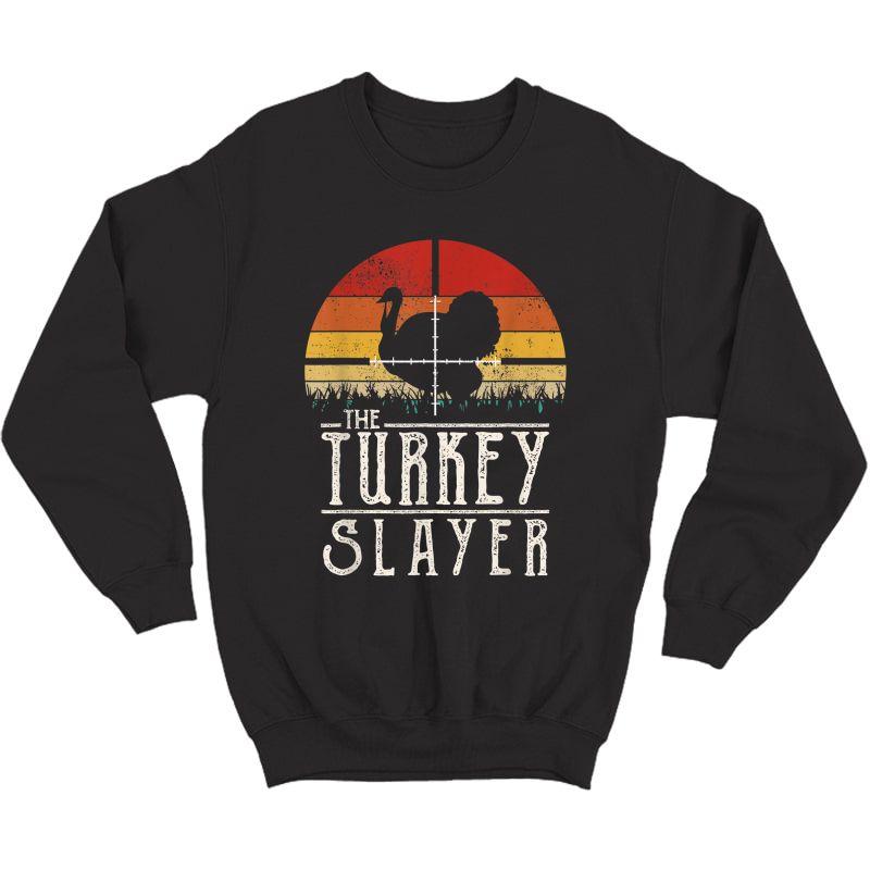 Vintage Sunset Retro Style Turkey Hunting Turkey Slayer T-shirt Crewneck Sweater