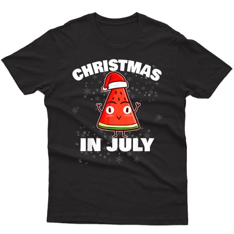 Watermelon Christmas In July Christmas Tree Summer Christmas T-shirt