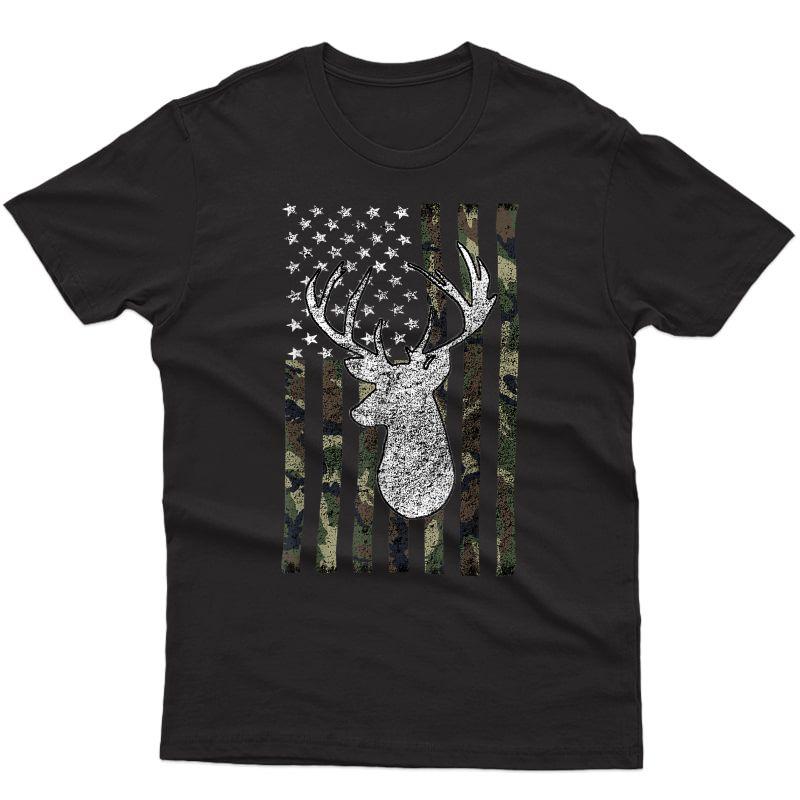 Tail Buck Deer Hunting American Camouflage Usa Flag T-shirt