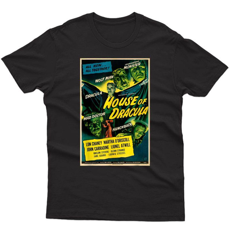 Wolfman Dracula Retro Halloween Monster Poster Horror Movie T-shirt