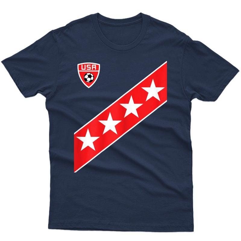 Us Soccer Style Usa Fan Stars Flag Stripes New T-shirt